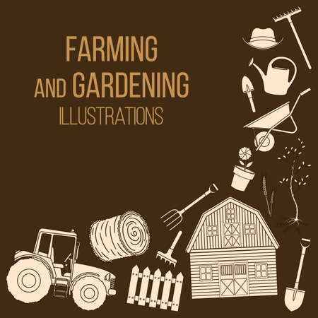 Set of farming equipment liine icons. Farming tools and agricultural machines decoration. Vector  イラスト・ベクター素材