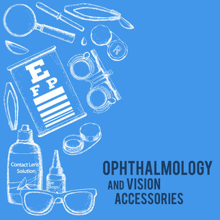 Set of medical optometry accessory for correct vision - contact lens, solution, lens case eye test chart, glasses. Vector