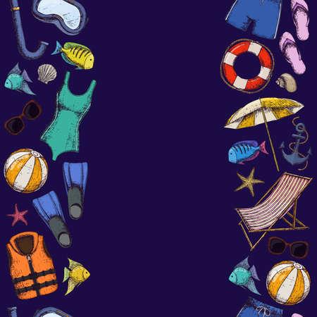Seamless borders of beach summer holidays accessories, sketch cartoon illustration. Vector