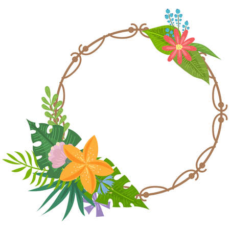 Frame with tropical flowers and leaves doodle style, design for postcard and invitation. Vector