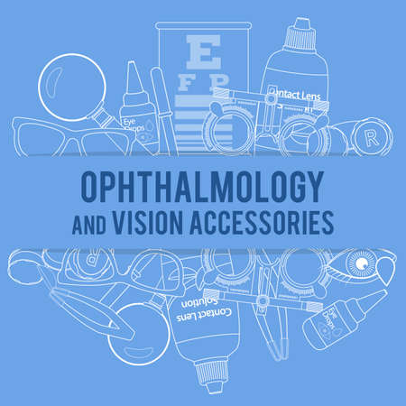 Set of line medical optometry accessory for correct vision - contact lens, solution, lens case, eye test chart, and glasses.