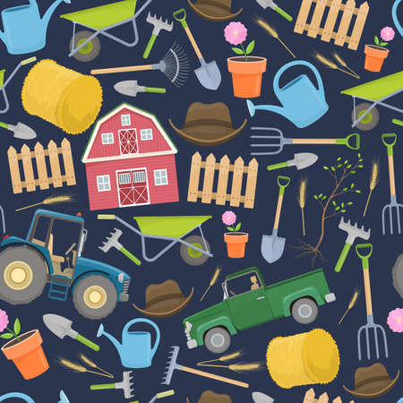 Seamless pattern of colorful farming equipment icons. Farming tools and agricultural decoration. Vector