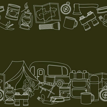 Seamless borders of travel equipment. Accessories for camping and camps. Line icons of camping and tourism equipment. Vector Illustration