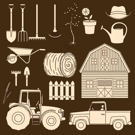 Set of farming equipment line icons. Farming tools and agricultural machines decoration vector. Vettoriali