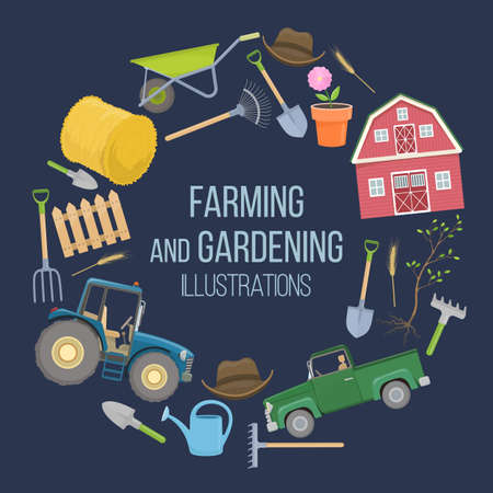 Set of colorful farming equipment icons. Farming tools and agricultural machines decoration. 일러스트