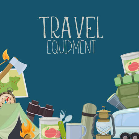 Set of travel equipment. Accessories for camping and camps. Colorful cartoon illustration of camping and tourism equipment. Vector Vectores