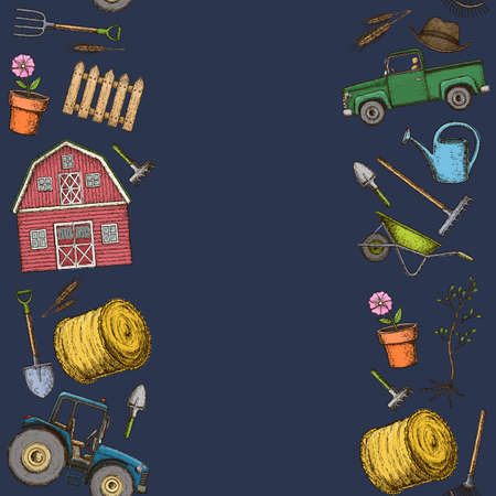 Seamless borders of farming equipment icons. Farming tools and agricultural machines decoration, sketch illustration. Vector