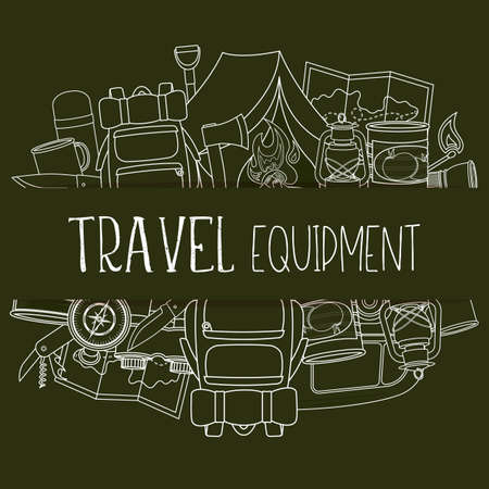 Set of travel equipment. Accessories for camping and camps. Line icons of camping and tourism equipment. Vector