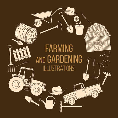 Set of farming equipment liine icons. Farming tools and agricultural machines decoration. Vector 일러스트