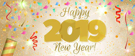 Happy New Year 2019 greeting horizontal banner. Festive illustration with colorful confetti, party popper and sparkles. Vector
