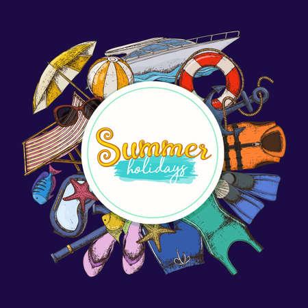 Set of beach summer holidays accessories, cartoon illustration. Vector Ilustracja