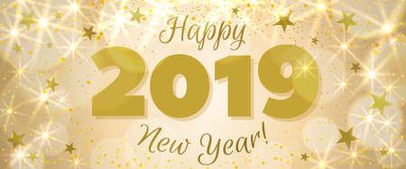 Gelukkig Nieuwjaar 2019 groet horizontale banner. Feestelijke illustratie met kleurrijke confetti, party popper en sparkles. Vector
