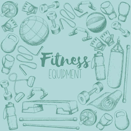 Set of fitness accessories, sketch cartoon illustration of gym equipment for home exercise. Vector 向量圖像