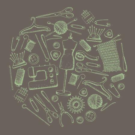 Set di strumenti per il ricamo e il cucito. Attrezzatura fatta a mano e accessori per cucito, illustrazione di schizzo. Vettore Vettoriali