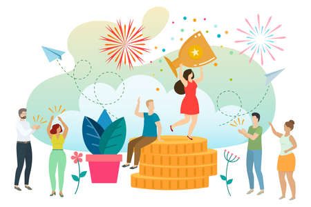 Successful woman celebrating success. Woman wins a prize, achieves a goal, businesswoman has success and earns money. Vector Vector Illustration