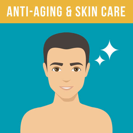 Mans anti-aging skin care and mens cosmetics. Man with perfect skin without wrinkles and pimples. Vector Ilustração