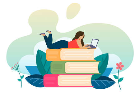 Concept of online learning. Online education on the Internet. Teaching remotely on a laptop at a convenient time. Vector
