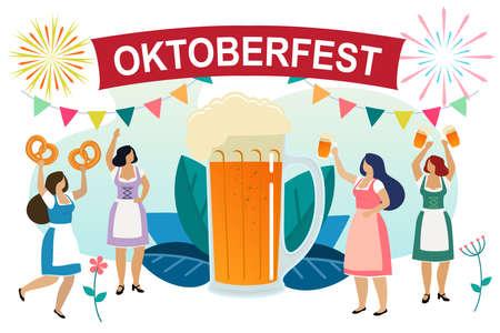 Frauen in bayerischer Tracht feiern das Oktoberfest. Freundinnen in dindl haben Spaß auf dem Oktoberfest. Vektor