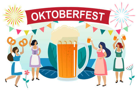 Women in traditional Bavarian clothes celebrate beer festival Oktoberfest. Girls friends in dindl have fun at the Oktoberfest. Vector Illustration