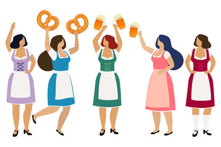 Women in traditional Bavarian dindl with beer in pretzels celebrate beer festival Oktoberfest. Vector Archivio Fotografico - 107803989