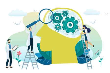 Concepto de salud mental. Resolviendo problemas mentales. Psicoterapia y ayuda. Vector