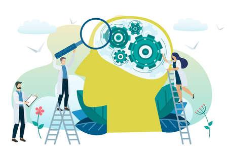 Geestelijke gezondheid concept. Mentale problemen oplossen. Psychotherapie en hulp. Vector