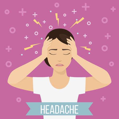Frau leidet unter Kopfschmerzen und Migräne. Frau fühlt Schmerzen im Kopf. Vektor