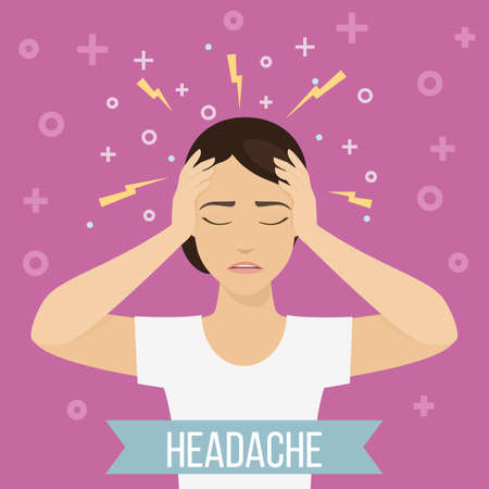 Woman suffers from headache and migraine. Female feels pain in her head. Vector