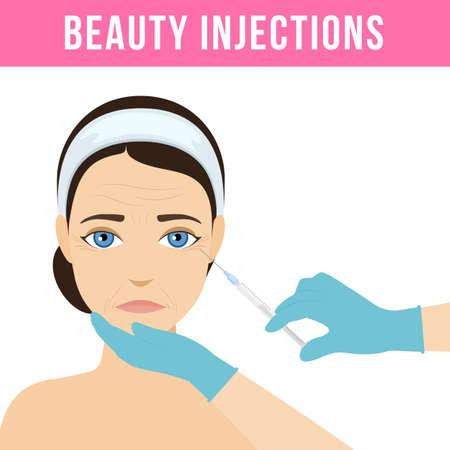 Anti-aging huidverzorging voor dames. Verschillende soorten rimpels in het gezicht. Vrouw Botox-injectie. Anti-verouderingsprocedure. Vector