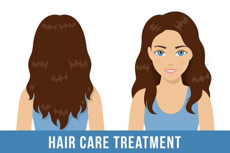 Hair care treatment. Brunette woman with healthy shiny wavy hair. Vector