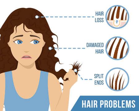 Cura dei capelli. Problemi comuni dei capelli: doppie punte, capelli danneggiati, perdita di capelli. Vettore