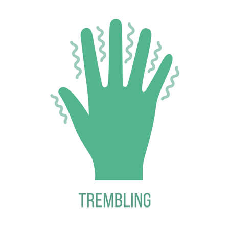 Icon of common symptom of panic disorder - trembling. Vector