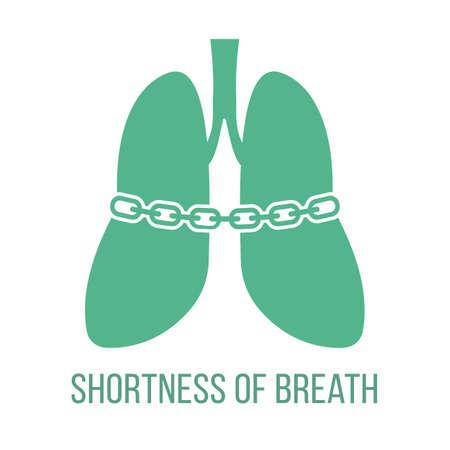 Icon of common symptom of panic disorder - shortness of breath. Vector