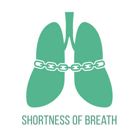 Icon of common symptom of panic disorder - shortness of breath. Vector