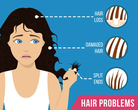 Hair care. Common hair problems - split ends, damaged, loss Vector