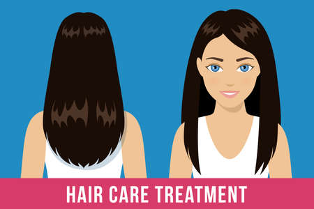 Hair care treatment. Brunette woman with healthy shiny straight hair. Vector