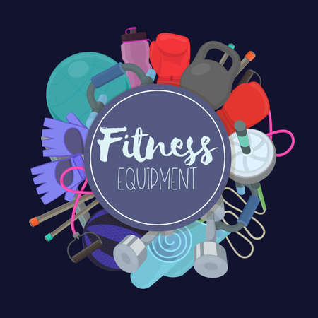 Set of fitness accessories, cartoon illustration of gym equipment for home exercise. Vector