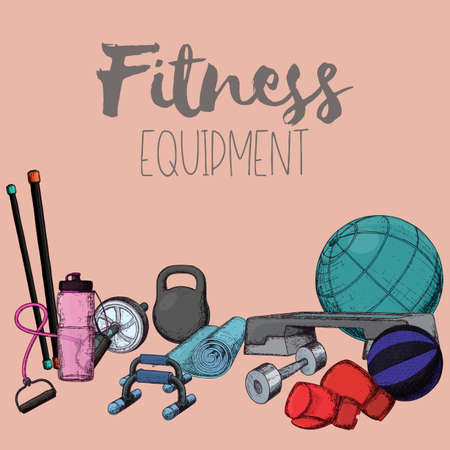 Set of fitness accessories, sketch cartoon illustration of gym equipment for home exercise. Vector Illustration