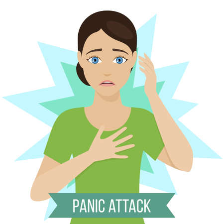 Girl suffers from panic attacks or panic disorder. Medicine infographic for brochures and magazines. Vector Çizim
