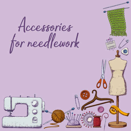 Set of tools for needlework and sewing. Handmade equipment and needlework accessoriesy, sketch illustration. Vector Çizim