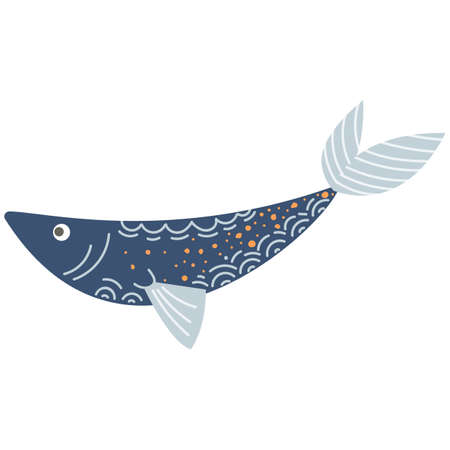 Cute illustration of blue fish for nursery decor, prints and posters, doodle style illustration. Vector