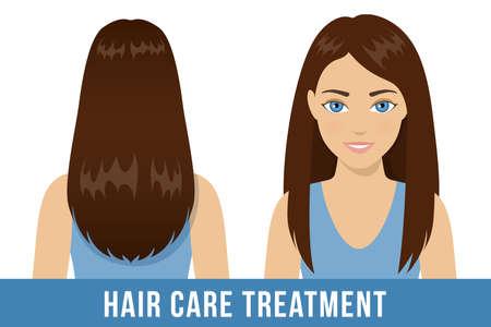 Tratamiento de cuidado del cabello. Mujer morena con pelo lacio brillante sano. Vector Ilustración de vector