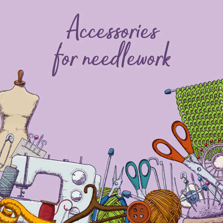 Set of tools for needlework and sewing. Handmade equipment and needlework accessoriesy, sketch illustration. Vector Stok Fotoğraf - 127218234