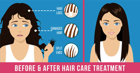 Hair care. Common problems - split ends, damaged hair, loss. Before and after hair care treatment. Vector