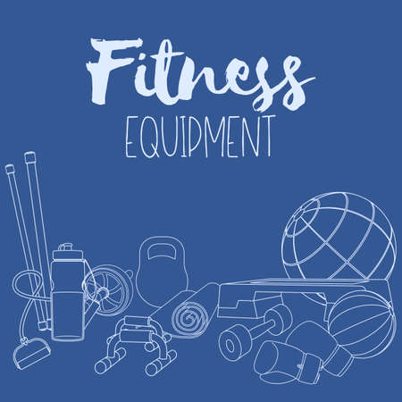 Set of fitness accessories, line illustration of gym equipment for home exercise. Vector