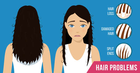 Hair care. Common hair problems - split ends, damaged hair, hair loss. Vector Çizim