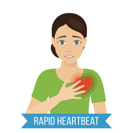 Common symptom of panic disorder - rapid heartbeat. Vector