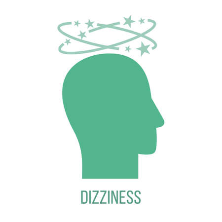 Icon of common symptom of panic disorder - dizziness. Vector