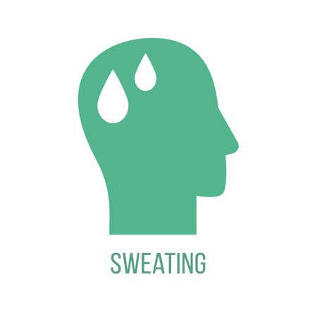 Icon of common symptom of panic disorder - sweating. Vector Çizim