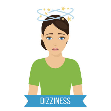 Common symptom of panic disorder - dizziness. Vector